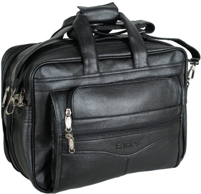 Easies Synthetic Leather Full Expandable 16 Inches Executive Black Color Office Bag Large Briefcase - For Men