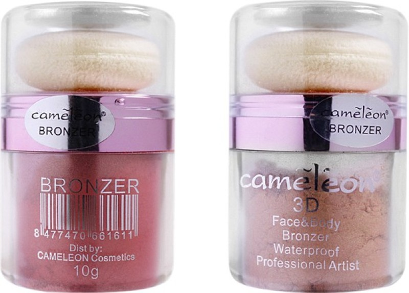 Cameleon 3D Face & Body Waterproof Bronzer Combo Pack(Natural, Ruby orange)