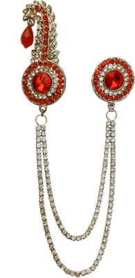 B-Fashionable Double Chain Round Bead Kilangi Brooch(Red)