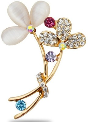 Cilver Fashion Flowers In Opal And Crystal Brooch