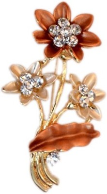SNYTER Snyter Dsigner Brown Flower Brooch