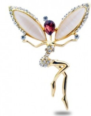 Cilver Fashion Angel With Wings Rhinestone And Opal Brooch
