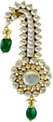 Orniza Kundan Ethnic Kalgi for Men Turban Safa in Emerald Color Brooch
