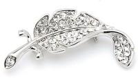 SENECIO™ Crystal Studded Silver Plated Korean Style Leaf Brooch