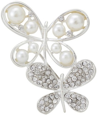 Cilver Fashion Silver And White Butterfly Pearl Brooch