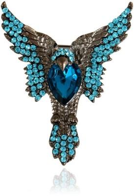 """SENECIOâ""""¢ Exclusive Flying Eagle Bird Blue Crystal Studded Gun Metal Black Color Tie Pin Partywear Unisex Unique Gift Brooch"""