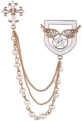"""SENECIOâ""""¢ Cross Angel Wings Enamel Beaded Dangle Chain Crystal Studded Golden Tie Pin Partywear Unisex Unique Gift Brooch"""