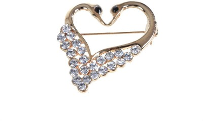 Ambitione Double Swans Heart Shape Brooch