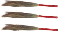 Hari Ram Gulab Rai Wooden Dry Broom(Red, Pack of 3)