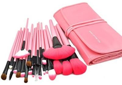 KanCai Pro Makeup Brushes Cosmetic Set Kit Synthetic Wood Brush with Leather Case