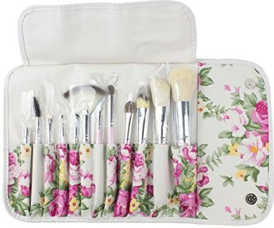 niceeshop Professional Wool Hair Cosmetic Makeup Brush Set with Rose Flower Case,White