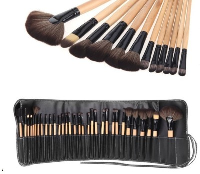 Looks United 24 Pcs Premium Cosmetic Makeup Brush Set With Leather Pouch