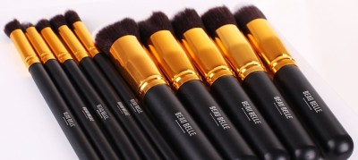 Beau Belle Black/Gold Kabuki Makeup Kit - Make Up Brushes - Foundation Brush, Blush Brush, Concealer Brush, Bronzer Brush, Kabuki Brush - Makeup Bag - Makeup Case
