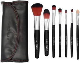 Puna Store 7 Piece Makeup Brush Set with Storage Pouch - Black(Pack of 1)