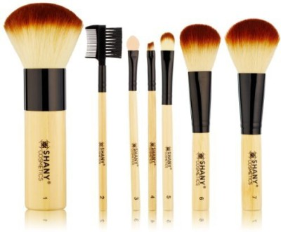 Shany Cosmetics Brush Set with Premium Synthetic Hair, Bamboo Handles and Cotton Pouch(Pack of 7)