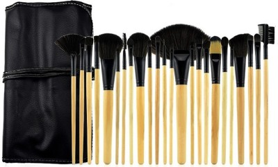 TopNail Facial Cosmetic 24 pieces Make Up Brushes Set with Black Hard PU Leather Bag