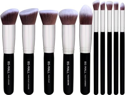 Bs-Mall Premium Synthetic Kabuki Makeup Brush Set(Pack of 10)