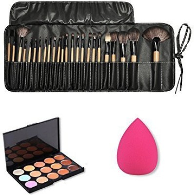 Jmkcoz Wooden Makeup Brush Kit Plus 15 Colors Camouflage Concealer Palette and 1pc Water Drop Makeup Sponge Makeup Kit