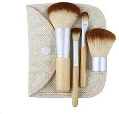 PrettyStar 4pcs Bamboo Make Up Brushes with Cosmetic Bag