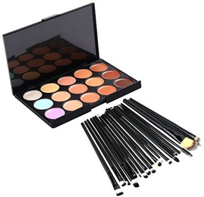 Jmkcoz Eye Lip Brushes 15 Colors Contour Face Cream Makeup Concealer Palette