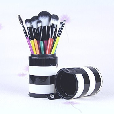 KINGLAKE Professional Makeup Brush Set with Cup PU Leather Holder Case
