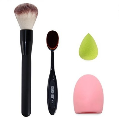 SySrion Makeup Brush, Oval Cosmetic Cream Powder Blush Makeup Tool, Brush Scrubber Board and Makeup Sponge Puff