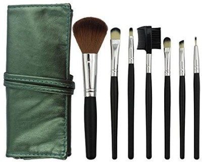 niceeshop Professional Makeup Cosmetic Brush Set with Green Leather Bag,Black Rod