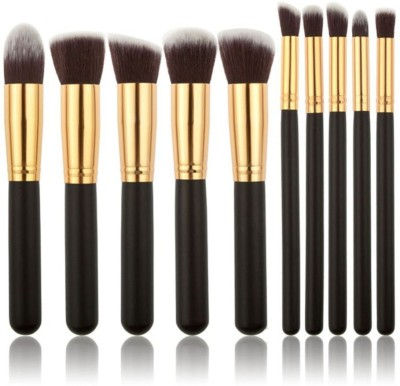 Looks United 10 Pcs Premium Cosmetic Makeup Brush Set With Leather Pouch