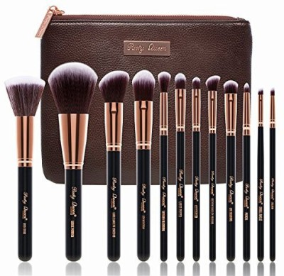 PartyQueen Unique Design Makeup Brush Set Silky Density Synthetic Bristles Cosmetic Kit