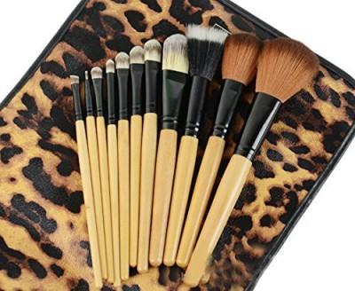 Dr Dry DRQ Pro Makeup Brushes Set Powder Foundation Eyeshadow Eyeliner Lip Brush Tool & Leopard Bag