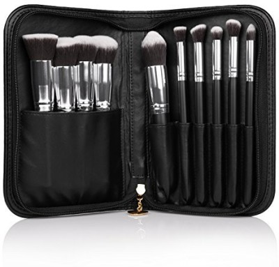Docolor Synthetic Wooden Handle Professional Kabuki Makeup Brush Set with Black Cosmetics Case