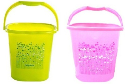 NAYASA 25 L Plastic Bucket(Green, Pink)