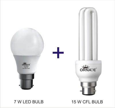 Ornate-Combo-Of-7W-LED-&-15W-2U-CFL-Bulbs-(White)