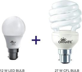 Ornate 12W LED Bulb, 27W CFL Bulb (White)