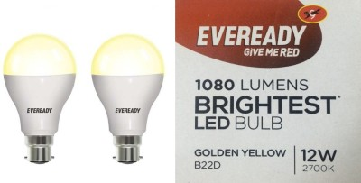Eveready 12W B22D LED Bulb (Golden Yellow, Pack of 2)