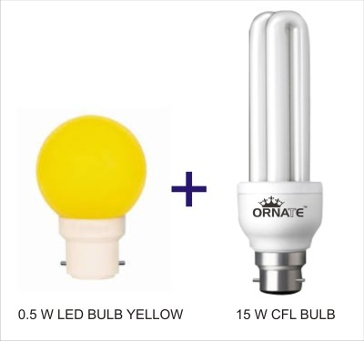 Ornate-Combo-Of-0.5W-LED-(Yellow)-&-15W-2U-CFL-Bulbs-(White)