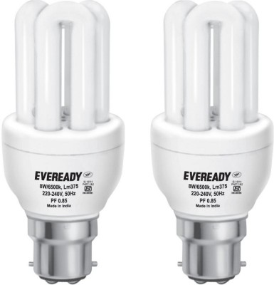 Eveready 8 W B22 CFL Bulb(White, Pack of 2)