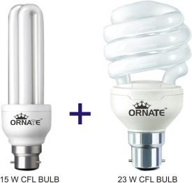 Ornate Combo Of 15W-2U & 23W-Spiral CFL Bulbs (White)