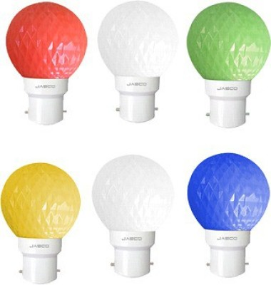 Jasco 0.5W LED Bulb (Pack of 6)(Red, Blue, Yellow, Green & 2 White)