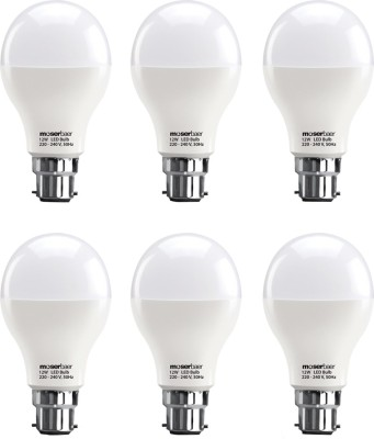 Moserbaer 12W B22 LED Bulb (White, Pack of 6)
