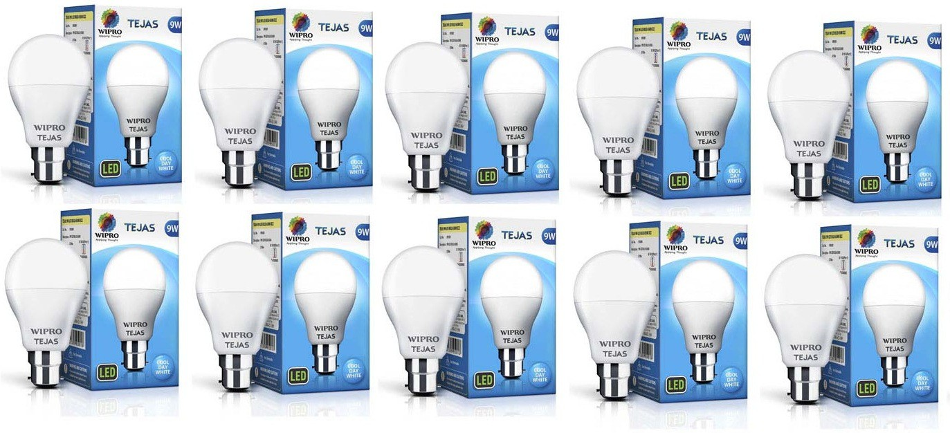Wipro 9 W Standard B22 LED Bulb(White, Pack of 10) Image