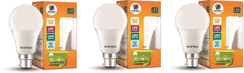 Wipro 9 W B22 D LED Bulb(White, Pack of 3)