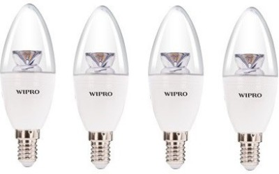 Wipro Garnet 6W 2700K LED Candle E14 Bulb (Warm White, Pack of 4)