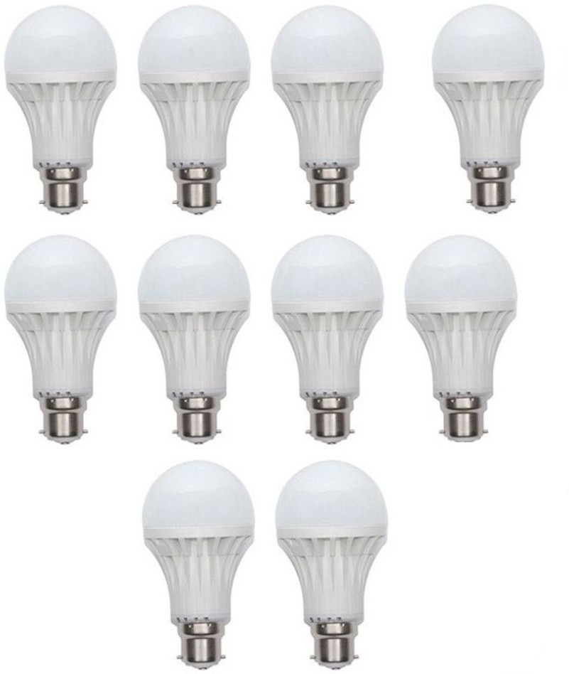 LED 9 W Standard B22 LED Bulb(White, Pack of 10) Image
