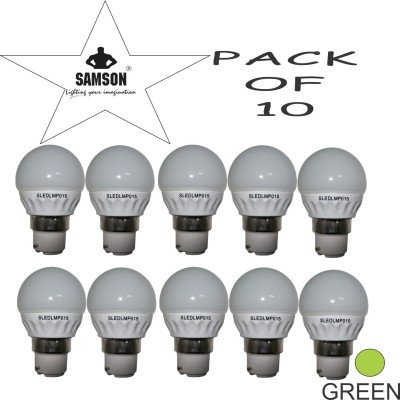Samson-3W-Round-Frosted-LED-Bulb-(Green,-Pack-of-10)