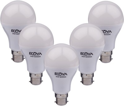 Ecova-9W-B22-900L-LED-Bulb-(White,-Pack-Of-5)