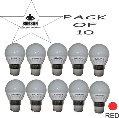 Samson-3W-B22-350L-Round-LED-Bulb-(Red,-Pack-Of-10)