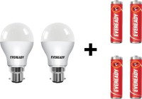 Eveready 9 W LED Bulb Pack of 2 with Free 4 Batteries(White, Pack of 2)