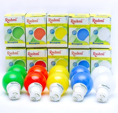 Rashmi 0.5 W B22 Deco LED Bulb (Green,Red,Yellow,Blue,White, Pack of 10)