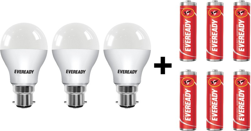 Eveready 9W LED Bulb with Free 6 Batteries(White, Pack of...
